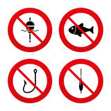Fishing icons. Fish with fishermen hook symbol. No, Ban or Stop signs. Fishing icons. Fish with fishermen hook sign. Float bobber symbol. Prohibition forbidden Stock Photography