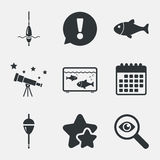 Fishing icons. Fish with fishermen hook symbol. Fishing icons. Fish with fishermen hook sign. Float bobber symbol. Aquarium icon. Attention, investigate and Stock Photos