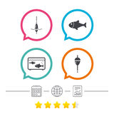 Fishing icons. Fish with fishermen hook symbol. Fishing icons. Fish with fishermen hook sign. Float bobber symbol. Aquarium icon. Calendar, internet globe and Stock Photo