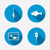Fishing icons. Fish with fishermen hook symbol. Fishing icons. Fish with fishermen hook sign. Float bobber symbol. Aquarium icon. Circle concept web buttons Stock Images