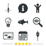 Fishing icons. Fish with fishermen hook symbol. Fishing icons. Fish with fishermen hook sign. Float bobber symbol. Aquarium icon. Information, light bulb and Royalty Free Stock Images