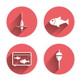 Fishing icons. Fish with fishermen hook symbol. Fishing icons. Fish with fishermen hook sign. Float bobber symbol. Aquarium icon. Pink circles flat buttons with Stock Photography