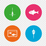 Fishing icons. Fish with fishermen hook symbol. Fishing icons. Fish with fishermen hook sign. Float bobber symbol. Aquarium icon. Round buttons on transparent Royalty Free Stock Image