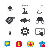 Fishing icons. Fish with fishermen hook symbol. Fishing icons. Fish with fishermen hook sign. Float bobber symbol. Browser window, Report and Service signs Royalty Free Stock Photo