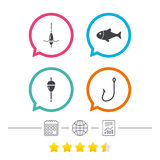 Fishing icons. Fish with fishermen hook symbol. Fishing icons. Fish with fishermen hook sign. Float bobber symbol. Calendar, internet globe and report linear Stock Photography