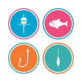 Fishing icons. Fish with fishermen hook symbol. Fishing icons. Fish with fishermen hook sign. Float bobber symbol. Colored circle buttons. Vector Stock Photography