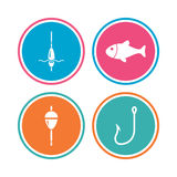 Fishing icons. Fish with fishermen hook symbol. Fishing icons. Fish with fishermen hook sign. Float bobber symbol. Colored circle buttons. Vector Royalty Free Stock Photos