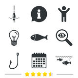 Fishing icons. Fish with fishermen hook symbol. Fishing icons. Fish with fishermen hook sign. Float bobber symbol. Information, light bulb and calendar icons Stock Images