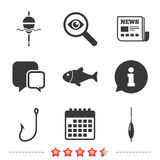 Fishing icons. Fish with fishermen hook symbol. Fishing icons. Fish with fishermen hook sign. Float bobber symbol. Newspaper, information and calendar icons Stock Photography