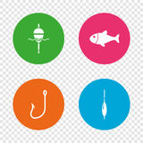 Fishing icons. Fish with fishermen hook symbol. Fishing icons. Fish with fishermen hook sign. Float bobber symbol. Round buttons on transparent background Royalty Free Stock Photography