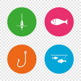 Fishing icons. Fish with fishermen hook symbol. Fishing icons. Fish with fishermen hook sign. Float bobber symbol. Round buttons on transparent background Stock Images
