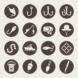 Fishing icons. Fishing items  icon set Stock Photo