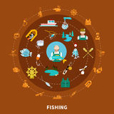 Fishing Icons Round Composition. Fishing set of flat  fishing tackle icons and sailing equipment signs arranged along concentric circles vector illustration Royalty Free Stock Image