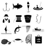 Fishing icons set. Fishing  icons set in back Royalty Free Stock Images