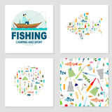 Fishing icons set. Big collection of fishing gear and other fishing related. Fisherman in a boat fishing: fishing rod, hooks, bait, boat, fish,  water. Vector Royalty Free Stock Image