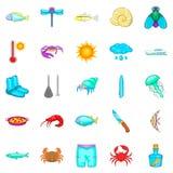 Fishing icons set, cartoon style. Fishing icons set. Cartoon set of 25 fishing vector icons for web isolated on white background Royalty Free Stock Images