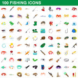 100 fishing icons set, cartoon style. 100 fishing icons set in cartoon style for any design vector illustration royalty free illustration
