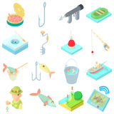 Fishing icons set in cartoon style Royalty Free Stock Photo