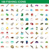 100 fishing icons set, cartoon style. 100 fishing icons set in cartoon style for any design illustration royalty free illustration
