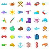 Fishing icons set, cartoon style. Fishing icons set. Cartoon style of 36 fishing vector icons for web isolated on white background Stock Photos