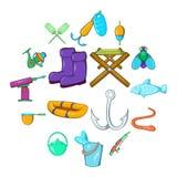 Fishing icons set, cartoon style. Fishing icons set in cartoon style isolated on white background Royalty Free Stock Photography