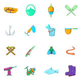 Fishing icons set, cartoon style Royalty Free Stock Images
