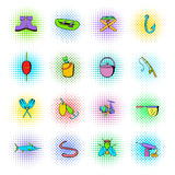 Fishing icons set, comics style Stock Photo