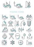 Fishing Icons set  design Royalty Free Stock Photos