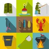 Fishing icons set, flat style Royalty Free Stock Images