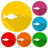 Fishing icons set with long shadow. Vector icon Royalty Free Stock Images