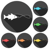 Fishing icons set with long shadow. Vector icon Royalty Free Stock Image