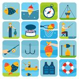 Fishing Icons Set. Fishing outdoor vacation fun activity icons set isolated vector illustration Stock Photography