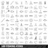100 fishing icons set, outline style. 100 fishing set in outline style for any design illustration stock illustration