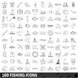 100 fishing icons set, outline style. 100 fishing set in outline style for any design vector illustration Stock Photos