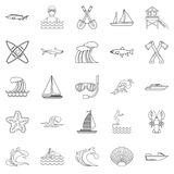 Fishing icons set, outline style. Fishing icons set. Outline set of 25 fishing vector icons for web isolated on white background Stock Images