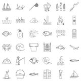Fishing icons set, outline style. Fishing icons set. Outline style of 36 fishing vector icons for web isolated on white background Royalty Free Stock Image