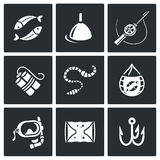 Fishing icons set. Vector Illustration. Stock Images