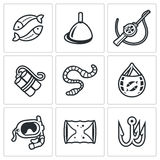 Fishing icons set. Vector Illustration. Royalty Free Stock Images