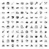 Fishing 100 icons set for web. Flat royalty free illustration