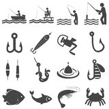 Fishing icons in single color.  Royalty Free Stock Images