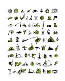 Fishing icons, sketch for your design Royalty Free Stock Images