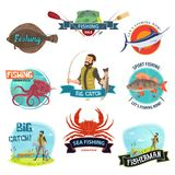 Vector fisherman sport fishing icons. Fishing icons templates for fisherman shop or fisher store sale. Vector isolated symbols of fish and seafood catch or Royalty Free Stock Images