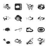 Fishing 16 icons universal set for web and mobile Stock Photography