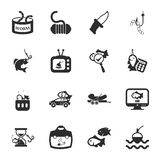 Fishing 16 icons universal set for web and mobile. Flat Royalty Free Illustration