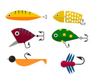 Fishing icons vector illustration. Fishing anchors icons vector illustration. Fishing tools, fishing hooks, fishing icons. Fishing boat and fishing anchors Royalty Free Stock Images