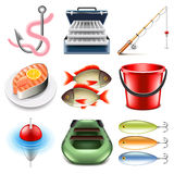 Fishing icons vector set. Fishing icons detailed photo realistic vector set Stock Image
