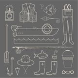 Fishing icons Royalty Free Stock Photography