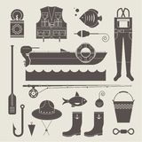 Fishing icons Stock Image