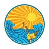 Fishing illustration with retro style stock illustration