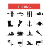 Fishing illustration, thin line icons, linear flat signs, vector symbols vector illustration